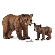 Schleich 42473 Grizzly bear mother with cub - Figurine