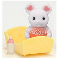 Sylvanian Families Marshmallow Mouse Baby with accessories