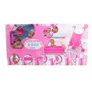 4-in-1 Set Doll, Cot, Stroller, Accessories - Set