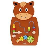 Viga Wooden 'Wire Beads and Gears' - Horse Wall Toy - Wooden Toy