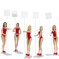 Carrera 21113 Figures - Set of 5 Gridgirls Realistic Scenery Accessory for Slot Car Race Track, Red - Slot Cart Track Accessory