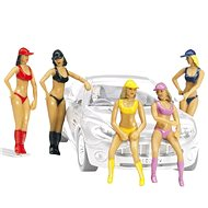 Carrera 21114 Figures - Set of Pit Babes/Grid Girls Realistic Scenery Accessory for Slot Car Race Tr - Slot Cart Track Accessory