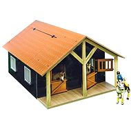Mikro Trading Kids Globe Horse Stable with a Workshop - Brown - Wooden Model