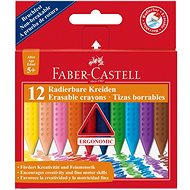 Faber-Castell Erasable Grip Crayons, 12 Colours - Coloured Pencils