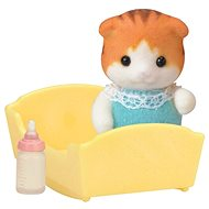 Sylvanian Families Maple Cat Baby in Cradle - Game Set