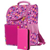 Pixie school bag and pencil case fuchsia with colored dots - School Set