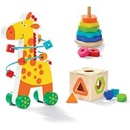 Wooden Educational Set 3-in-1 - Giraffe with Beaded Labyrinth