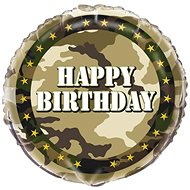 Foil Balloon Happy Birthday -  Camouflage - Army - Soldier - 45cm - Balloons