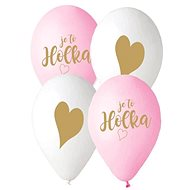 Czech Printed Balloon - Pink and White - 30cm - 5 pcs - Balloons