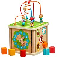 Lucy & Leo 248 Wooden Motor Cube 5-in-1 with Clock - Motor Skill Toy