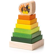 CUBIKA 15276 Coloured Pyramid with Hen - Wooden Puzzle 8 pieces - Puzzle