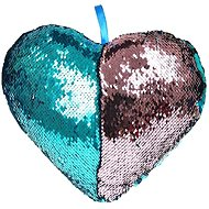 Heart-shaped Pillow with Blue Sequins - Pillow