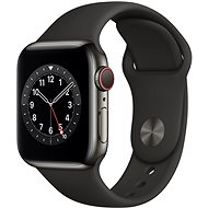 Apple Watch Series 6 40mm Cellular Graphite Stainless Steel with Black Sports Strap - Smartwatch