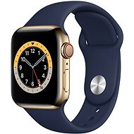 Apple Watch Series 6 40mm Cellular Gold Stainless Steel with Navy Blue Sports Strap - Smartwatch