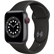 Apple Watch Series 6 44mm Cellular Space Grey Aluminium with Black Sports Strap - Smartwatch
