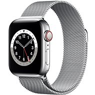 Apple Watch Series 6 44mm Cellular Silver Stainless Steel with Silver Milanese Loop - Smartwatch