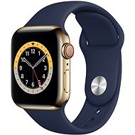 Apple Watch Nike Series 6 44mm Cellular Gold Stainless Steel with a Navy Blue Sports Strap - Smartwatch