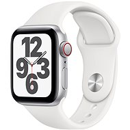 Apple Watch SE 44mm Cellular Silver Aluminium with White Sports Strap - Smartwatch