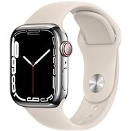 Apple Watch Series 7 41mm Cellular Silver Stainless-Steel with Starlight Sport Band - Smartwatch