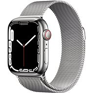 Apple Watch Series 7 41mm Cellular Silver Stainless Steel with Silver Milanese Loop - Smartwatch