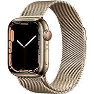 Apple Watch Series 7 41mm Cellular Gold Stainless Steel with Gold Milanese Loop - Smartwatch