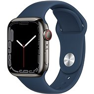 Apple Watch Series 7 41mm Cellular Graphite Stainless-Steel with Abyss Blue Sport Band - Smartwatch