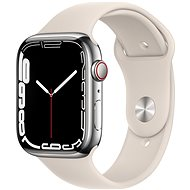 Apple Watch Series 7 45mm Cellular Stainless-Steel Silver with Starlight Sport Band - Smartwatch