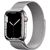 Apple Watch Series 7 45mm Cellular Silver Stainless-Steel with Silver Milanese Loop - Smartwatch