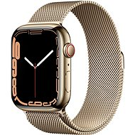 Apple Watch Series 7 45mm Cellular Gold Stainless Steel with Gold Milanese Loop - Smartwatch