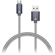 Data cable CONNECT IT Wirez Premium Metallic micro USB 1m silver grey - Datový kabel