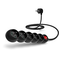 CONNECT IT Extension 230V, 5 Sockets + Switch, 2m, Black - Extension Cord