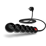 CONNECT IT 230V extension, 5 sockets + switch, 3m, black - Extension Cord