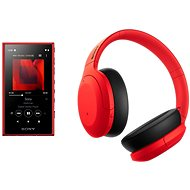 Sony MP4 16GB NW-A105L Red + Sony Hi-Res WH-H910N, Red-Black