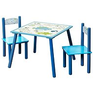 Set of Children's Table with Two Blue Chairs - Children's furniture