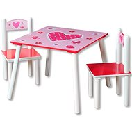 Set of Children's Table with Two Pink Chairs - Children's furniture