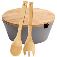Kesper Dark Grey, Bowl for Fruit and Salads with Bamboo Lid, Diameter of 26cm, Height of 11cm - Bowl