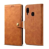 Lenuo Leather for Samsung Galaxy A20e, Brown - Mobile Phone Case