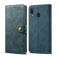 Lenuo Leather for Samsung Galaxy A30, Blue - Mobile Phone Case