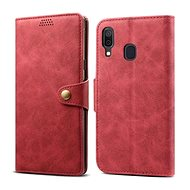 Lenuo Leather for Samsung Galaxy A40, Red - Mobile Phone Case