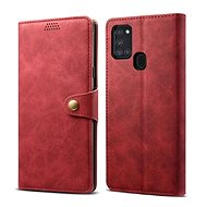 Lenuo Leather for Samsung Galaxy A21s, Red - Mobile Phone Case