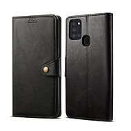 Lenuo Leather for Samsung Galaxy A21s, Black - Mobile Phone Case