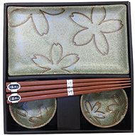 Made In Japan Sushi Set with Floral Design light green 6pcs - Set