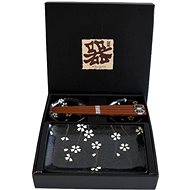 Made in Japan Sushi Set, Black with White Flowers - Set