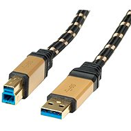 ROLINE Gold USB 3.0 SuperSpeed ??USB 3.0 A (M) -> USB 3.0 B (M), 0.8m - black/gold