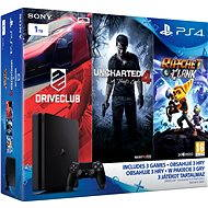 Playstation 4 - 1TB Slim + 3 games (Uncharted 4, Driveclub, Ratchet & Clank) - Game Console