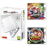 Nintendo NEW 3DS Pearl White + Mario Superstars + YO-KAI WATCH 2: Bony Spirits - Game Console