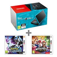 Nintendo NEW 2DS XL Black & Turquoise + Pokémon Ultra Moon + Mario Sports Superstars - Game Console