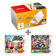 Nintendo NEW 2DS XL White & Orange + Kirby Battle Royale + Mario & Luigi: Superstar Saga - Game Console