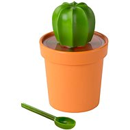 QUALY Tea/Coffee Can with Cacnister Spoon, 360ml, Orange-green