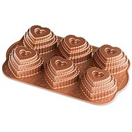 NW Conversation Heart Baking Pan with 6 Moulds, Copper - Baking Mould